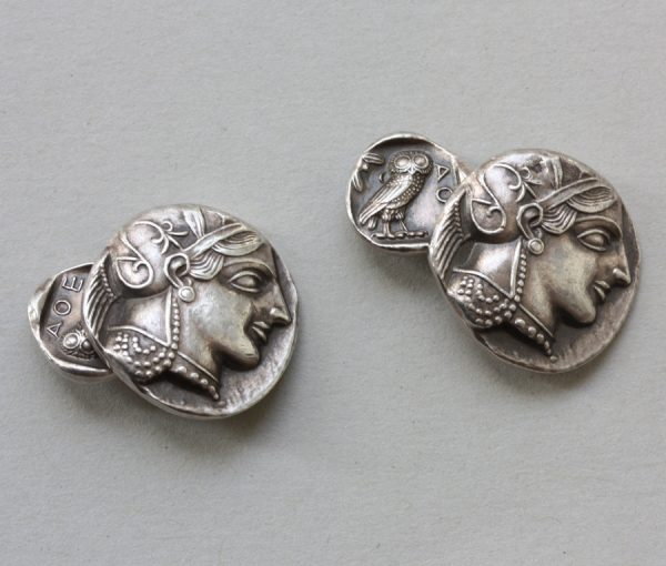silver tetradrachm cufflinks