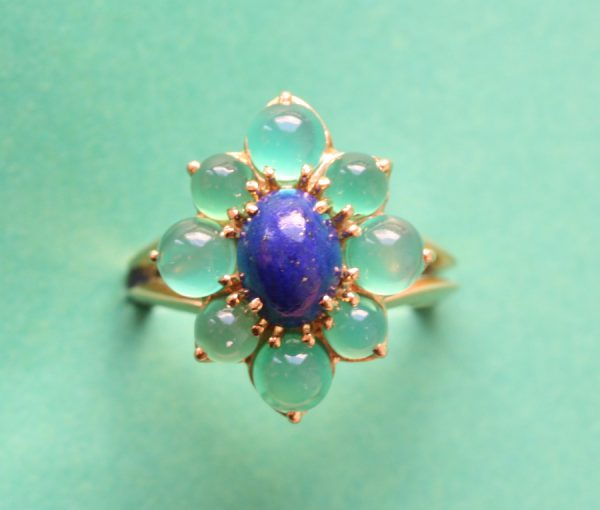 lapis and agate gold ring
