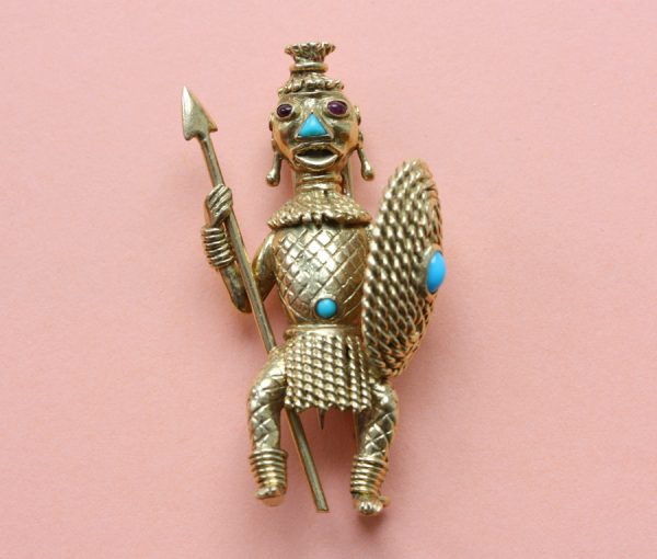 African inspired brooch