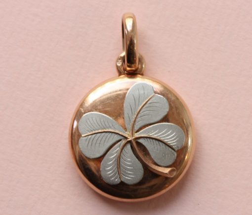 gold clover locket