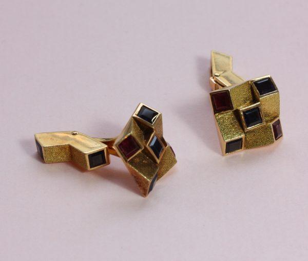 gold sapphire an ruby cufflinks
