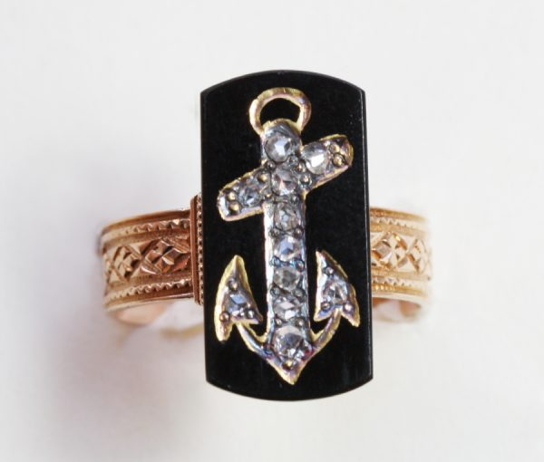 onyx and diamond anchor ring
