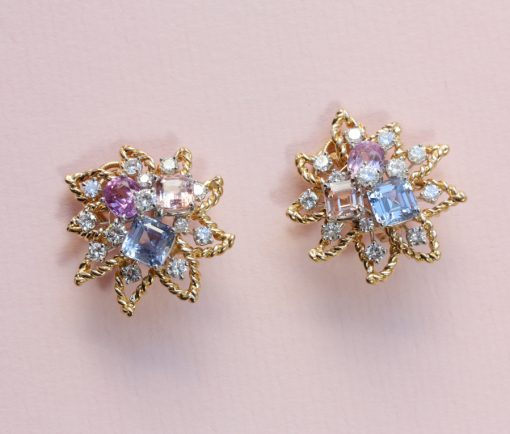 diamonds and colored sapphire ear clips
