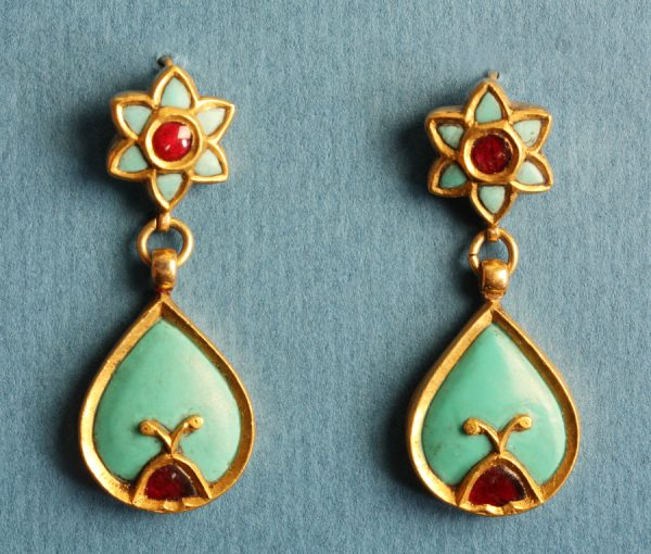 turquoise and ruby earrings