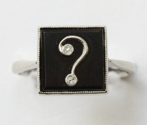 platinum onyx and diamond question mark ring