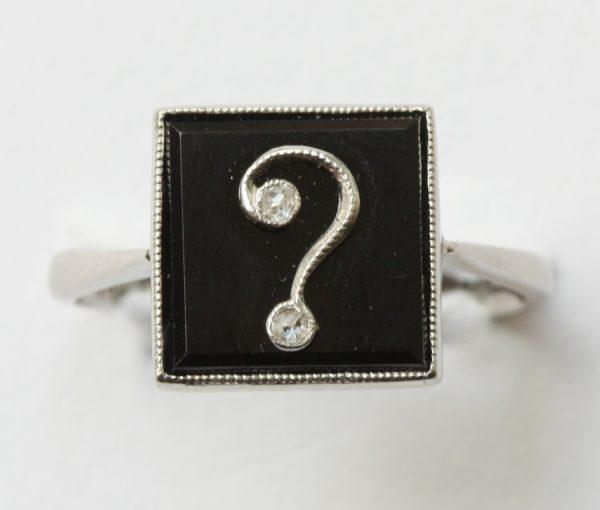 platinum onyx and diamond question mark ring