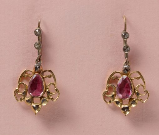 pink topaz and diamond earrings