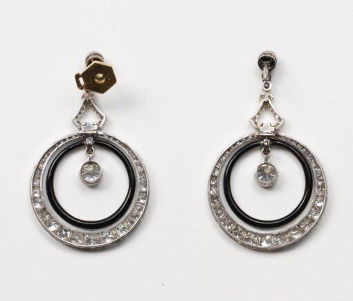 diamond onyx black enamel earrings