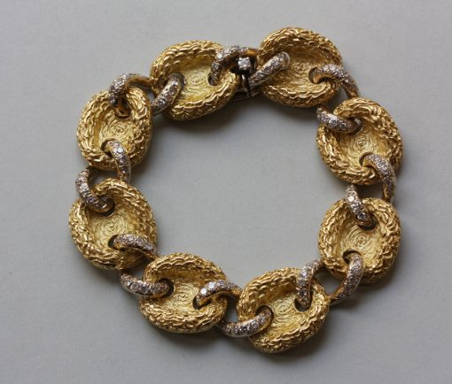 gold and diamond button bracelet