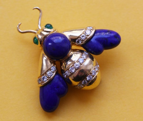 gold lapis bee brooch