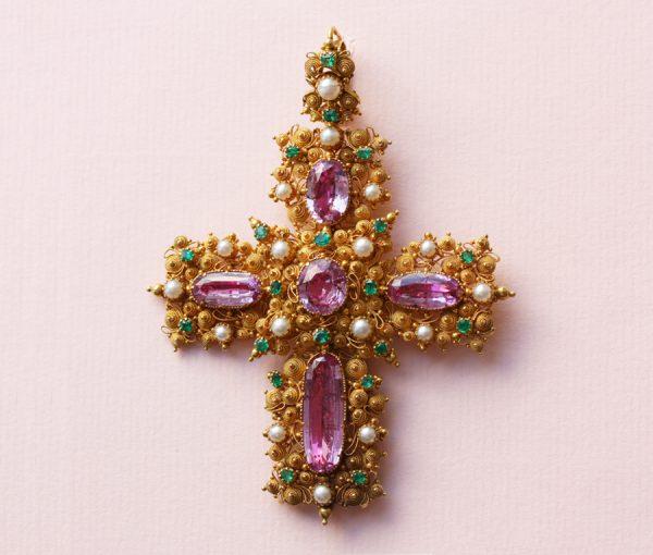Georgian Pink Topaz Cross