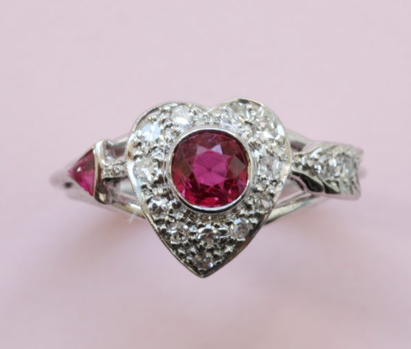 ruby diamond heart ring