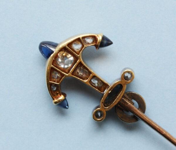 diamond_sapphire_anchor_jabot_pin