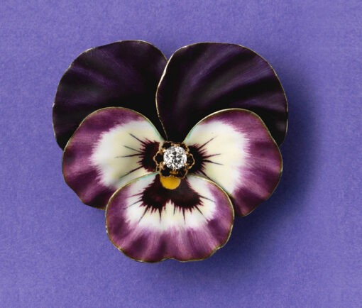 Hedges pansy brooch