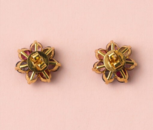 gold and spinel earrings