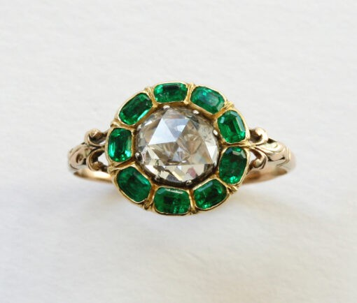 rose cut diamond and emerald ring