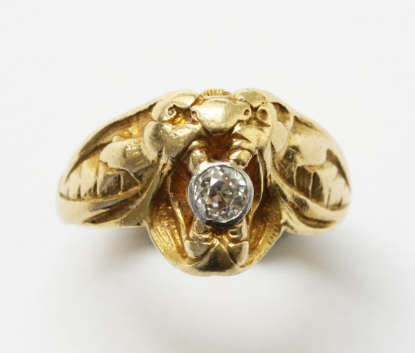 gold and diamond trompe loeil ring