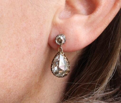 rose cut diamond earrings