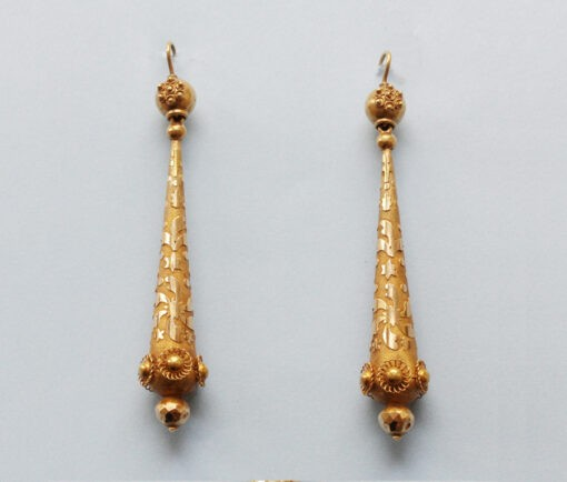 gold torpedo earrings