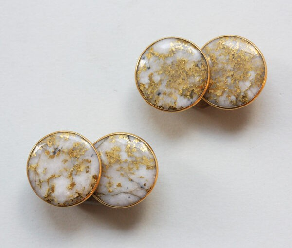gold quartz cufflinks