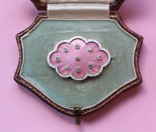 pink enamel brooch
