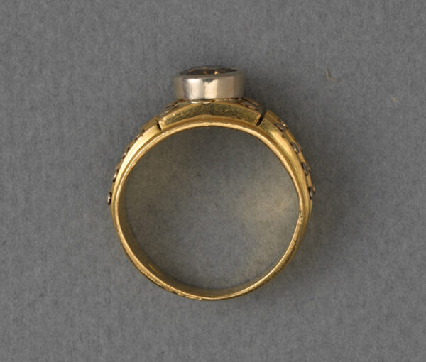 gold and brown diamond ring