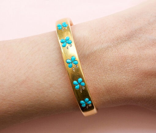 gold and turquoise bangle