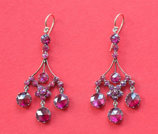 garnet girandole earrings