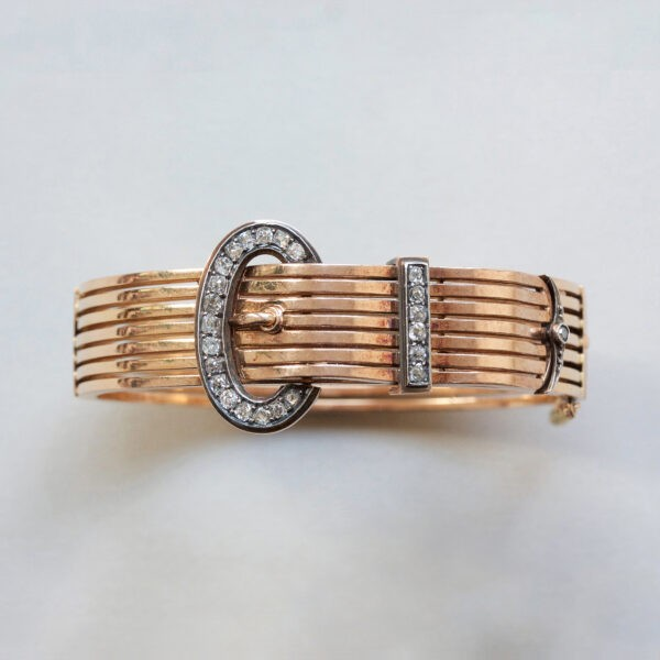 gold and diamond buckle bracelet
