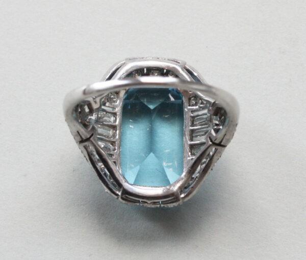 aquamarine and diamond art deco ring