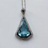 platinum and aquamarine pendant
