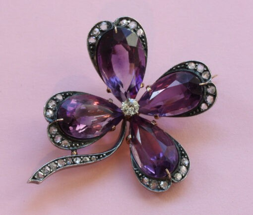 amthyst ND DIAMOND CLOVER BROOCH
