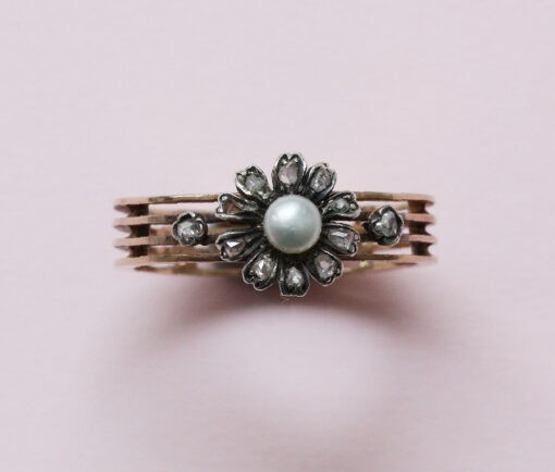 gold diamond pearl flower ring