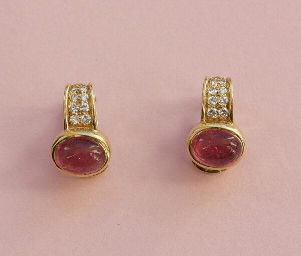 toermaline and diamond earrings