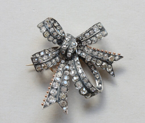 diamond bow brooch