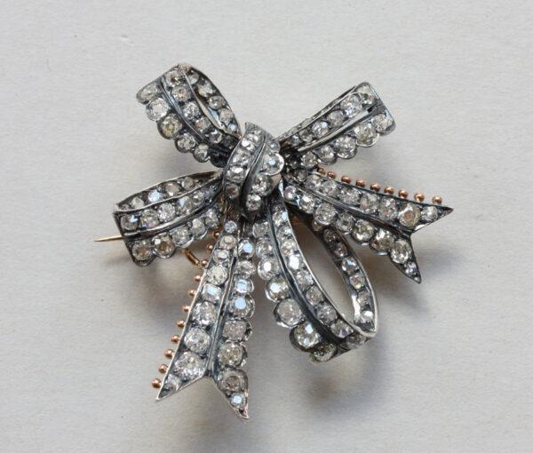 diamond bow brooch