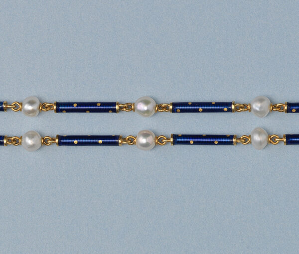 gold lond chain with pearls and enamel