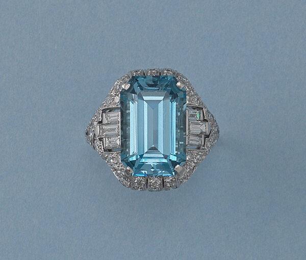 diamond and aquamarine ring