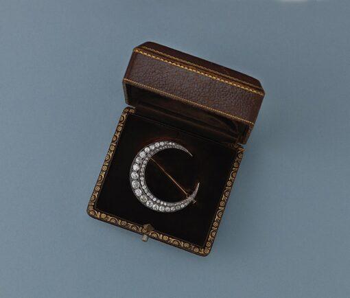 diamond crescent brooch