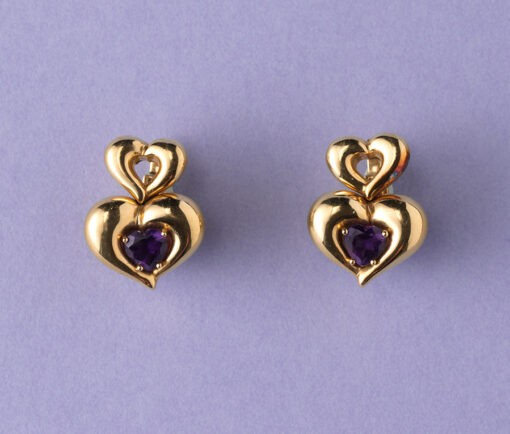 van cleef and arpels gold and amethyst heart earrings and ring