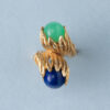 gold lapis anad agate 1960s ring georg lauer
