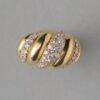 gold and diamond ribbed bombé ring