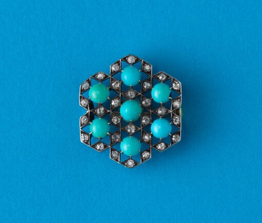 geometrical diamond and turquoise brooch