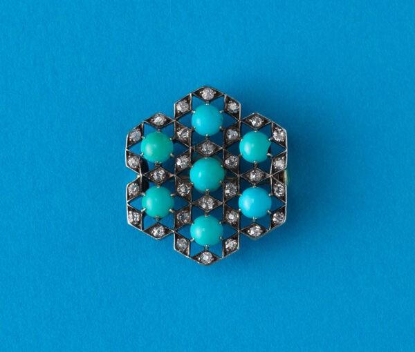 geometrical diamond and turquoise brooch