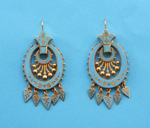 gold and blue enamel earrings