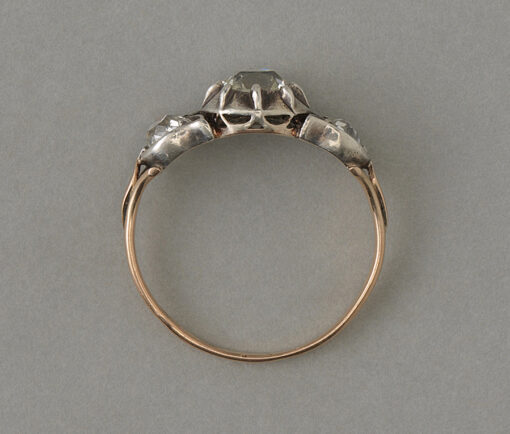 gold and silver tulip ring with diamonds