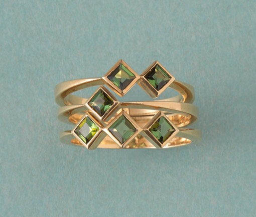 triple gold and tourmaline ring