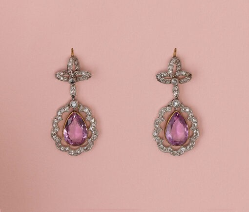 edwardian diamond and topaz earrings