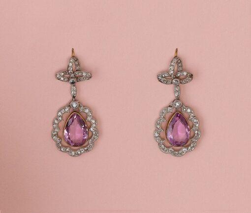 edwardian diamond and topaz earrings